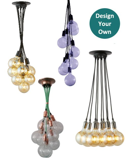 Custom made 9 pendant light chandelier choose any length hardware color style and bulb for a modern or antique feel design today at hangout lighting