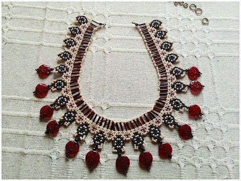 netted necklace tutorial - file örgü tekniğiyle kolye yapımı - YouTube