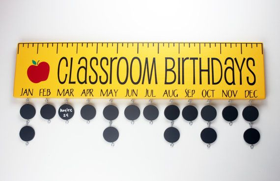 Classroom Birthday Board with Chalkboard Discs - Teacher Birthday Calendar Custom Wooden Sign- Ruler