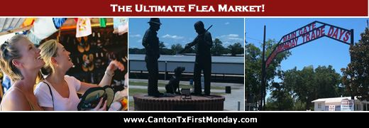 First Monday Trade Days 2013 calendar of dates of upcoming flea market weekends in Canton, Texas