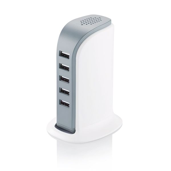 Powerful 6A charger with 6 USB ports. Charge up to 6 mobile devices at the same time. Comes with Iphone and Ipad optimized ports. Including white cable and EU adapter.