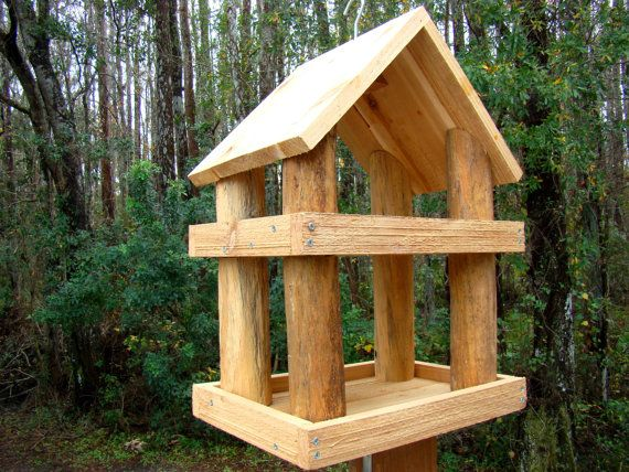 Large rustic wood platform bird feeder has 2 levels - Use as a hanging bird feeder or get optional pole and kit for pole mounting