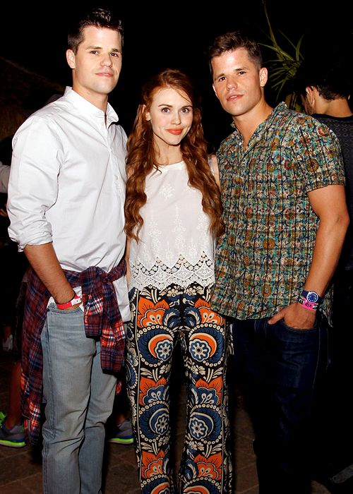 Max Carver, Charlie Carver & Holland Roden attend the NYLON Midnight Garden Party on April 10, 2015
