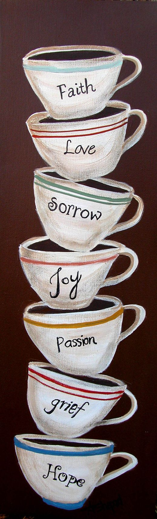 Coffee cups on canvas by painterlex on Etsy, $39.00
