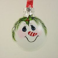 painted glass christmas ornaments -