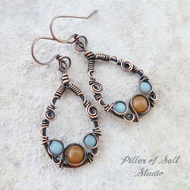 Teardrop Wire wrapped earrings with Amazonite and Red Aventurine