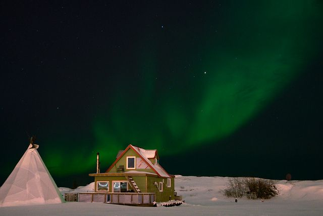 """To live on a houseboat and also have the aurora dancing overhead. (I """"know"""" the guy who lives here.)"""