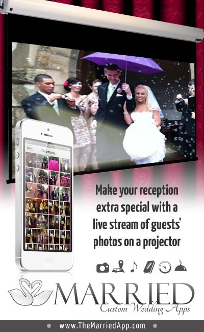The Married App - iPhone & Android wedding photo app captures every pic taken at your wedding. Everyone's pictures are automatically shared in real time through the customized Married app and can even be shown on a projector or TV in real time! Candid guests photos, more memories, more fun!