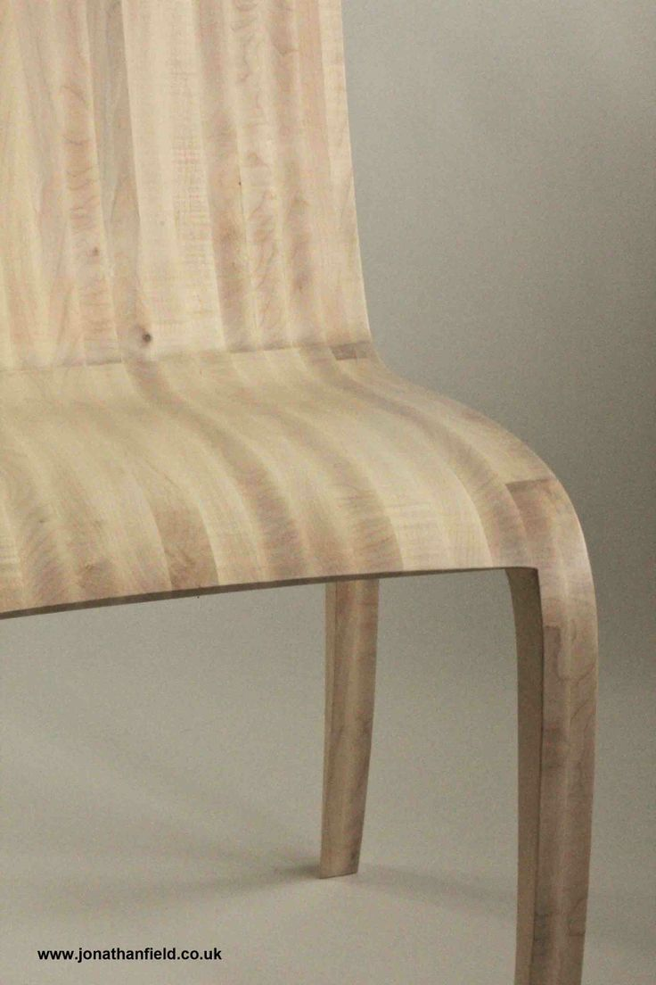 Chair in ripple sycamore steam bent with a white oil finish. The front legs of the chair reflect the curved shape of the desk, with the high curve to the inside of the seat side.  One of an edition of three. Designed to go with the Ripple sycamore desk  Jonathan's work is shown by Connaught Brown www.jonathanfield.co.uk