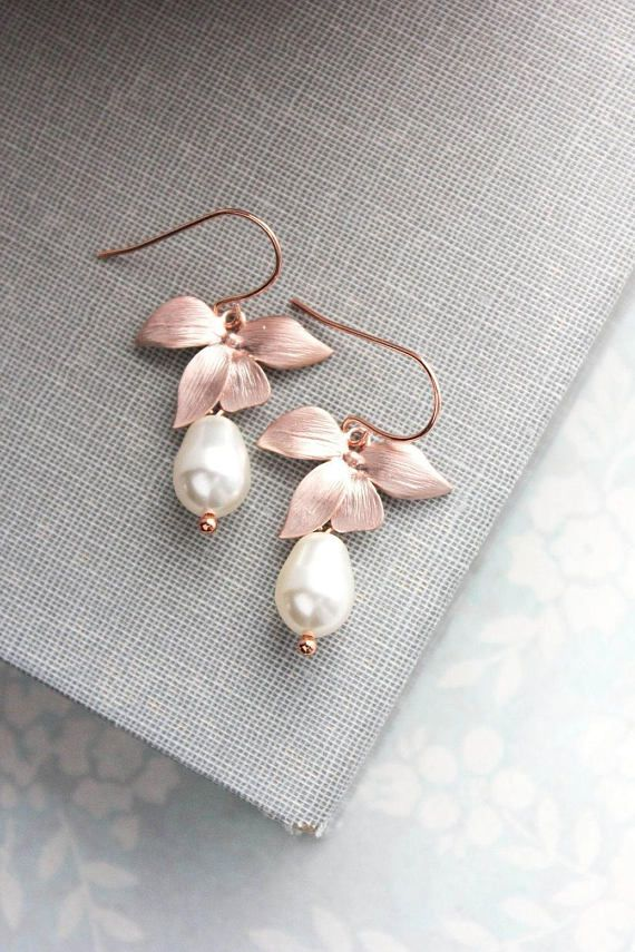 Rose Gold Drop Earrings Orchid Dangle Flower Earrings Ivory Cream Pearl Berry Burgundy Pearl Bridemaids Gift For Wife Women Mother Sister Rose Gold Drop Earrings Gold Drop Earrings