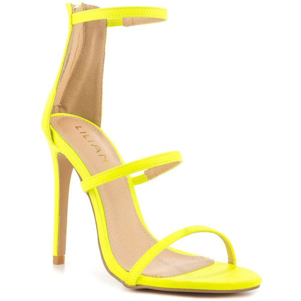 Liliana Women's Selfless - Neon Yellow ($57) ❤ liked on Polyvore featuring shoes, synthetic shoes, liliana shoes, strap high heel shoes, heels stilettos and liliana