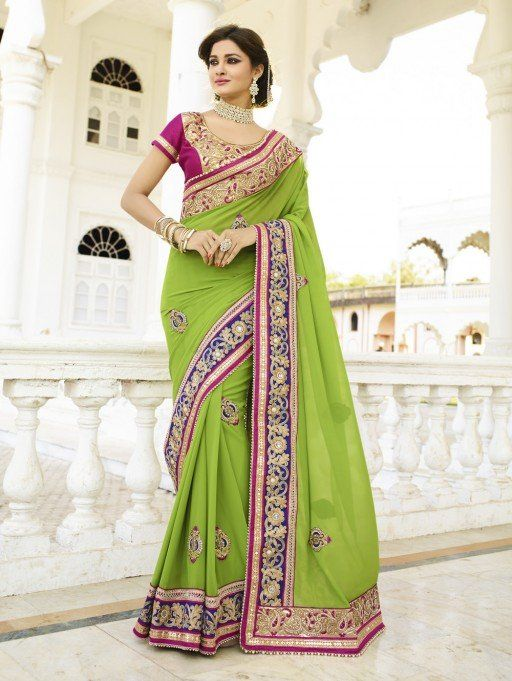 Green Bemberg Georgette Saree with Embroidery Work