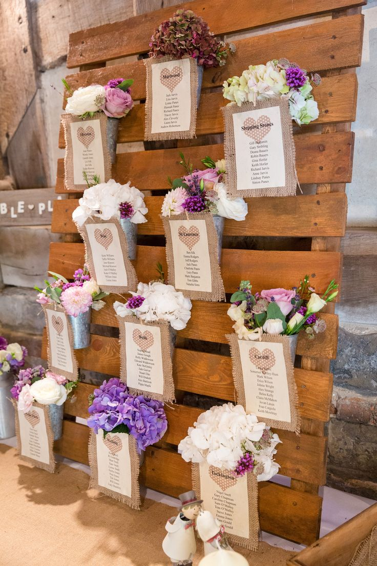 Rustic Rentals Bristol UK wedding party wooden pallet flower table plan, escort card with hessian heart name palces