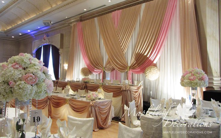 Toronto Wedding Decorations Custom Backdrop and Head Table Draping Design French Victorian inspired by Mapleleaf Decorations in colour PINK ...