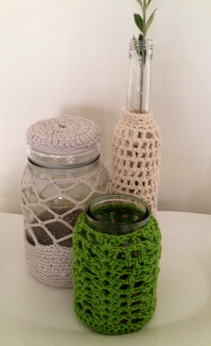 Crochet jar covers string and cotton