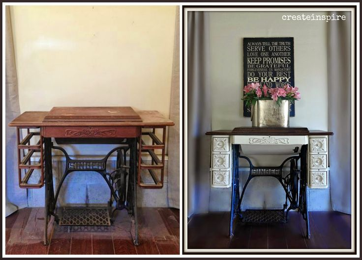Beautiful Singer Sewing Machine Cabinet transformation. {createinspire}