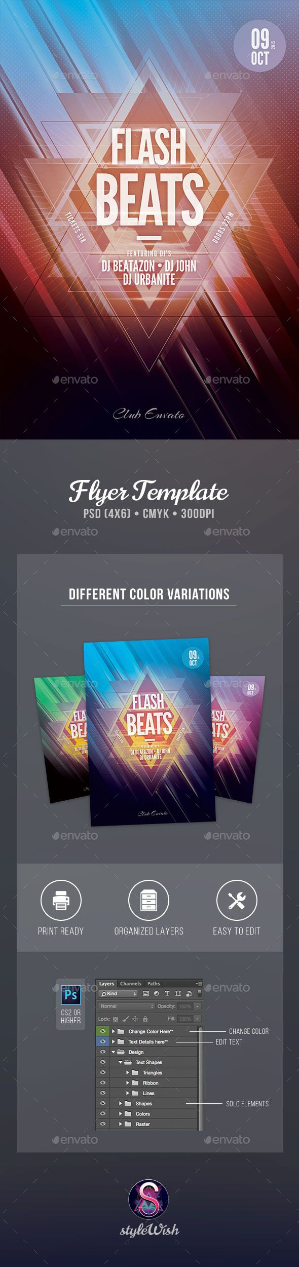 Flash Beats Flyer Template #design Download: http://graphicriver.net/item/flash-beats-flyer/12854235?ref=ksioks