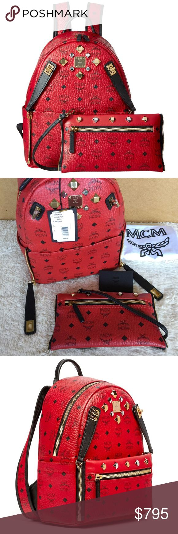 NEW MCM DUAL STARK BACKPACK Authentic. Made in Italy. Brand new with tags. This backpack has authenticity card, care books, and dust bag. PLEASE NO TRADE. THE PRICE IS FIRM. Small Dual Stark Backpack in Visetos coated canvas with leather trim and stud embellishments Color: Ruby Red Gold-toned hardware Single top handle Adjustable shoulder straps Nappa PU lining Detachable front zipped pouch with strap Exterior zipped pocket 2 interior pockets Coated Canvas , Pu body Coated Canvas /leather…