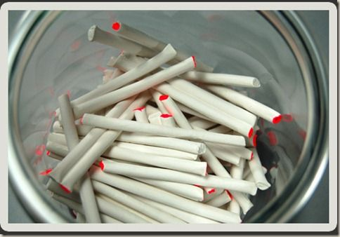 candy cigarettes with the red tip to show they are lit