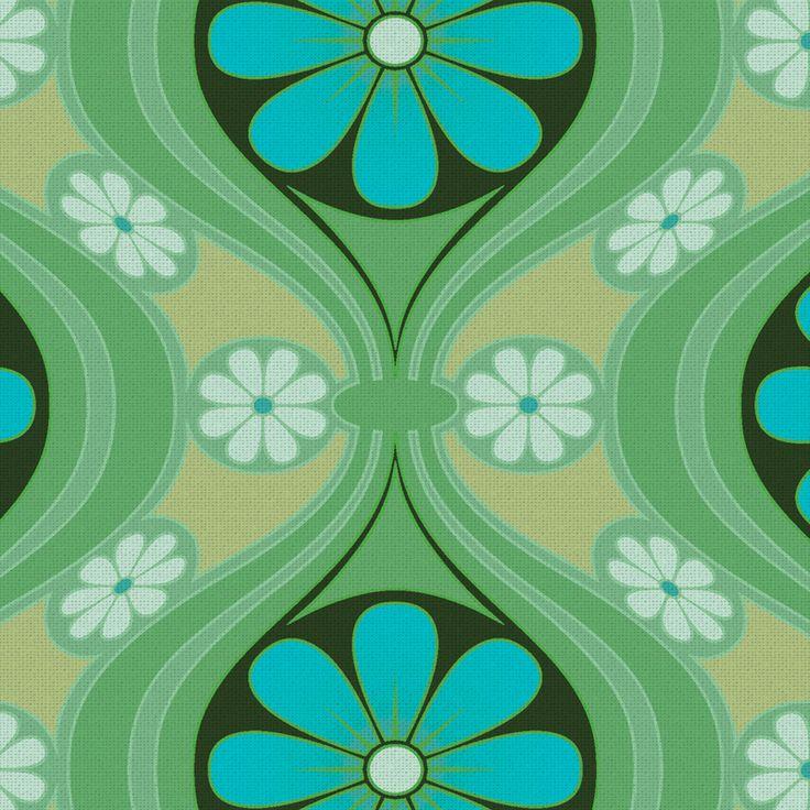 'Daisy' wallpaper in 'Sea of Green' colourway   The Mod Generation   Bradbury & Bradbury