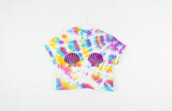 Tie Dye sirena cultivo superiores Seasell verano inconformista fiesta Rave Edm Plur Tumblr 90 Grunge Blogger en colores pastel T camisa S…