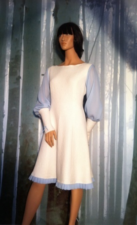 "Minsin, natural colored wool dress with pale blue chiffon sleeves. ""Elenora"""