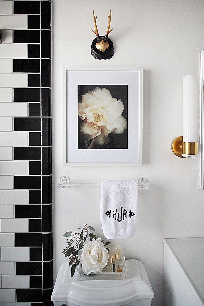 Bathroom Styling, Interesting Tile Application. Bathrooms DecorSmall  BathroomsBathroom IdeasBathroom RenosBlack White ...