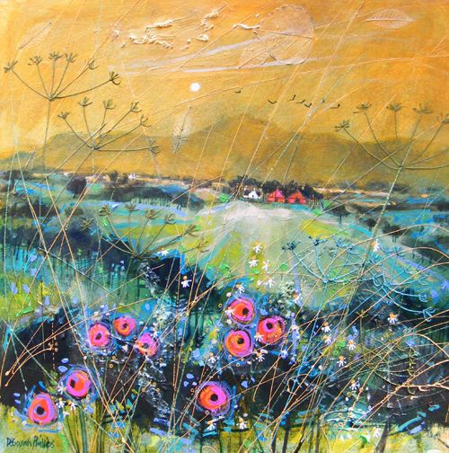 "Deborah Phillips Title : Balmy Evening Weeds Size : 18"" x 18"" image size"