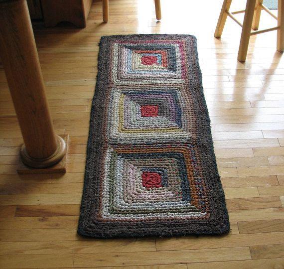 Log Cabin Crocheted Rag Rug