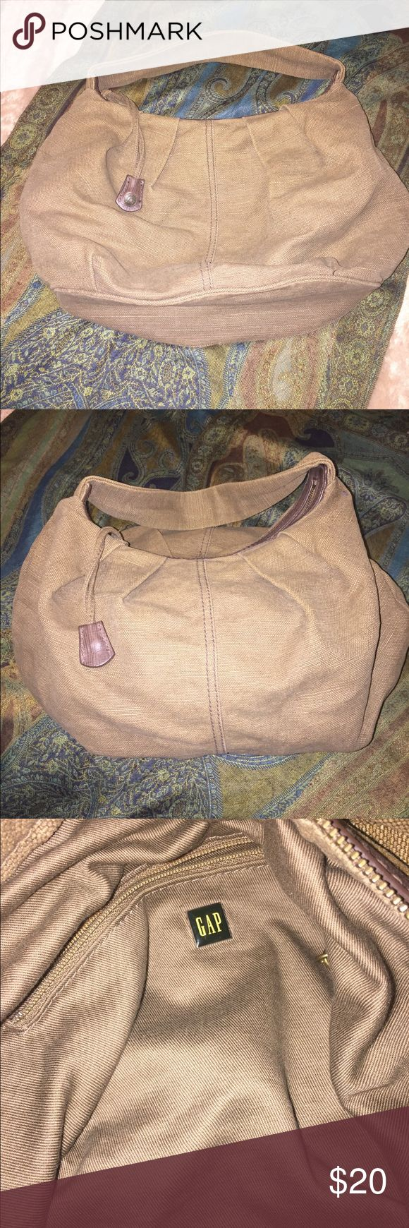 GAP Handbag Stylish tan hobo style slouch bag with zipper top; strap long enough to wear on shoulder but short enough to hang on wrist or carry by hand; clean inside...barely used GAP Bags Hobos