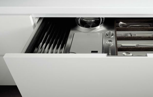 POLIFORM|VARENNA_Drawer insert equipped with knife holder, digital scale and silverware holders in wengè and steel.