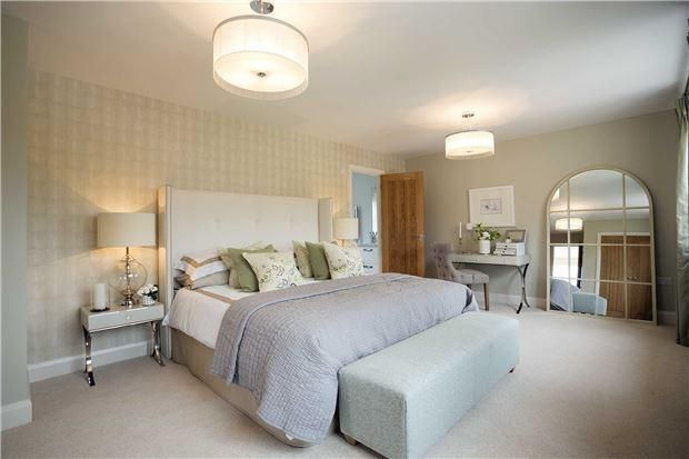 A soft colour palette, bespoke headboard and oversized statement mirror come together beautifully to create a light and calm master bedroom in our latest Cotswold family home project. You can find more examples of our work at http://www.janeclayton.co.uk/design-service/