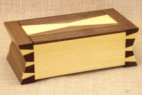 Hand crafted by a craftsman wonderful jewelry storage Custom Wooden Box, Brazilian Satinwood & Walnut