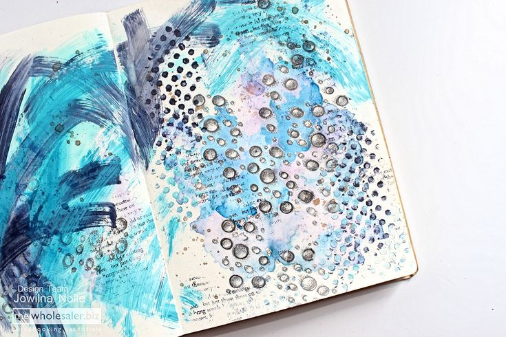 Then add some painted lines across the journaling background to complete your underwater wonderland in shades of blue and purple.