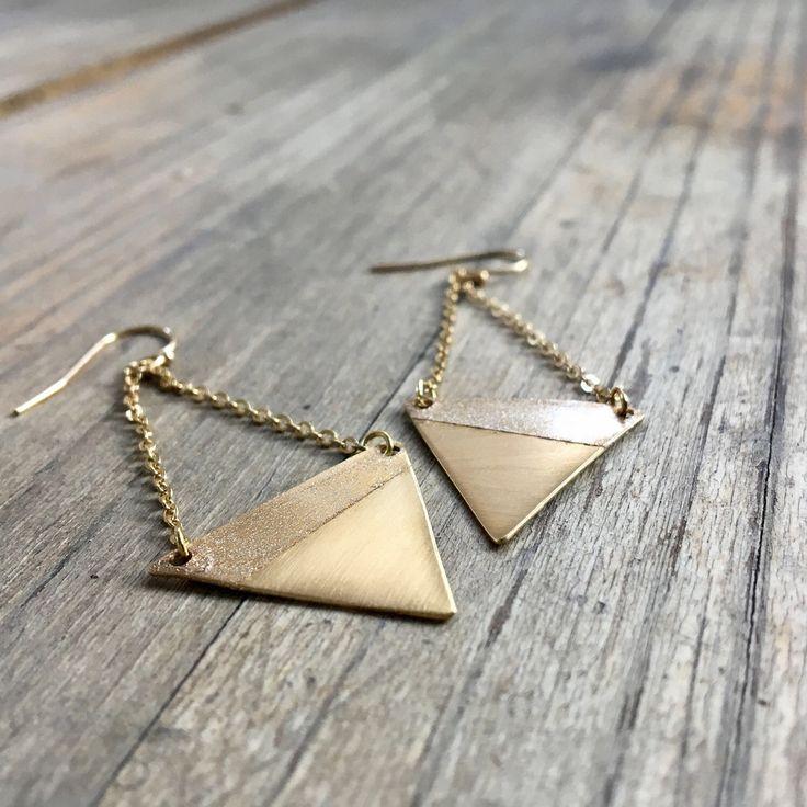 Geometric Triangle Earrings // Gold Shimmer Patina // Dangle Earrings by UmlautJewellery on Etsy https://www.etsy.com/ca/listing/522611627/geometric-triangle-earrings-gold-shimmer