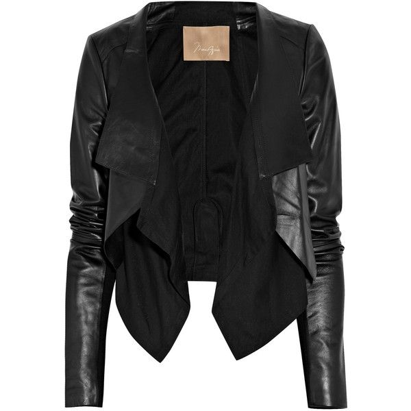 Max Azria Cotton-paneled leather jacket (655 BRL) ❤ liked on Polyvore featuring outerwear, jackets, tops, leather jackets, coats, black, cotton jersey, leather jersey, metallic leather jacket and cotton jacket