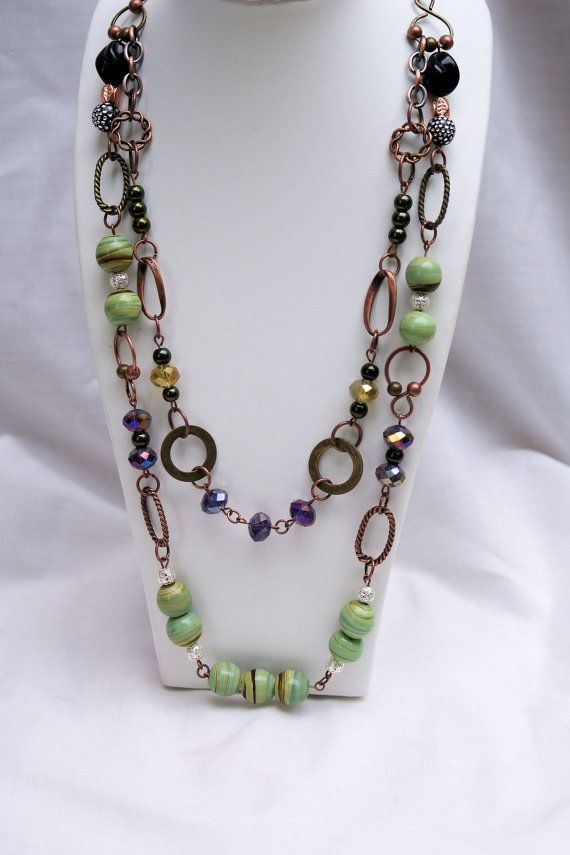Beaded Chain Necklace: 2 Layered Chunky by MyCreativeTable on Etsy