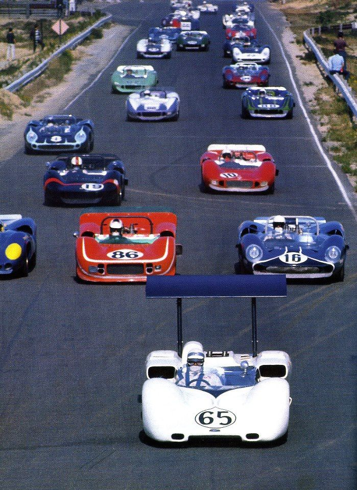 Classic 60's Can-Am race with a winged Chaparral in the lead!
