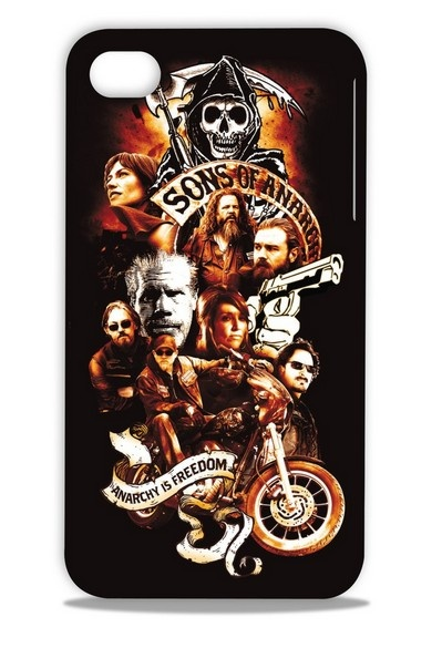 Color Hardshell Case for iPhone 4 / 4S - Sons of Anarchy - SOA Cast : Bring the spirit of Charming to your phone. Durable hardshell features images of the Sons of Anarchy cast. $19.99