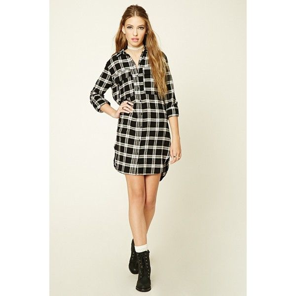 Forever21 Plaid Flannel Shirt Dress ($16) ❤ liked on Polyvore featuring dresses, white long sleeve dress, flannel shirt dress, long-sleeve shirt dresses, shirt dresses and plaid dresses