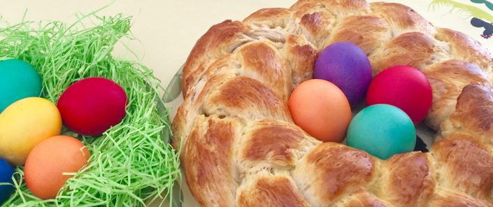 Easter Wreath Bread decorated with colored Eggs