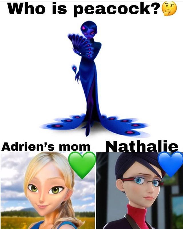 Natalie, Think about it, She is the only one who knows about miraculouses and Adrien's mom in missing and the pendant is still at Gabriel's house so she CAN'T be peacock Natalie could grab is whenever she wants she knows the code to open the painting SHE SEES GABRIEL DO IT ALL THE TIME XD