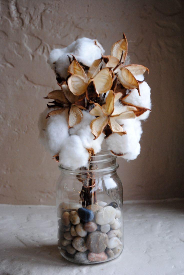 Cotton Bolls 5 And Pods 5 For Flower Arrangements