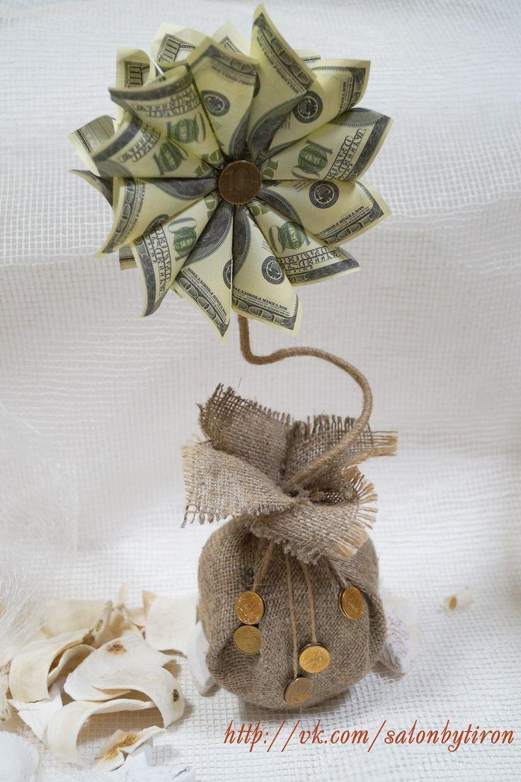 Топиарий из денежных купюр (доллары)
