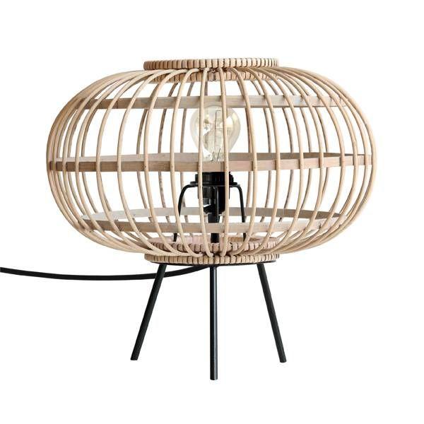 Wat een plaatje.. Deze prachtige tafellamp van HK-living is een echte eyecatcher. De lampenkap is gemaakt van bamboe en de pootjes zijn gemaakt van zwart metaal