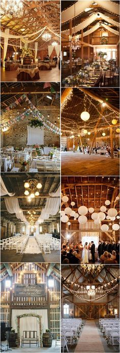 30 Romantic Indoor Barn Wedding Decor Ideas with Lights |