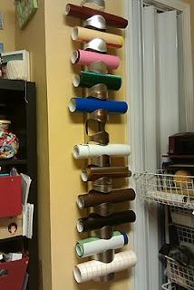vinyl storage using IKEA wine racks. Great idea!