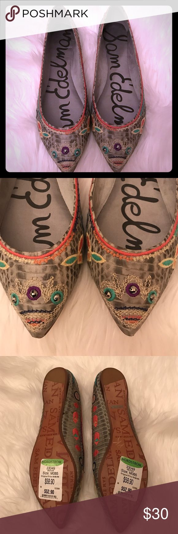NWT Sam Edelman Aztec flats NWT flats. Grey snakeskin base with Aztec detailed embroidery 3 jewels on toe and two in back. Sam Edelman Shoes Flats & Loafers
