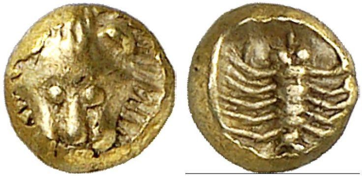 EL Forty-Eighth Stater, Milesian standard. Greek Coin, Ionia, Miletus. Circa 600-550 BC. Klein, KM 55,417. R! EF. Price realized 2011: 1.000 USD.