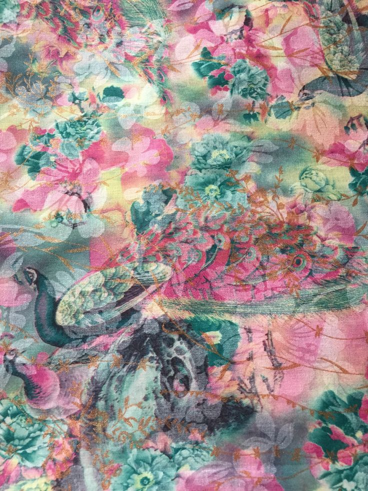 Floral Peacock Fabric